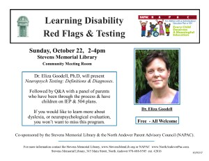 StevensMemLib NAPAC Learning Disability Red Flags Flyer 10-3-17
